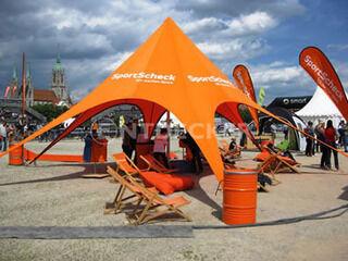 Mainospainettu star teltta