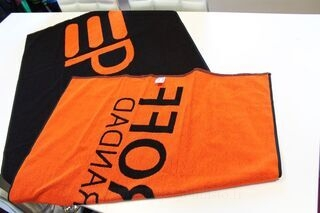 Towels with woven logo