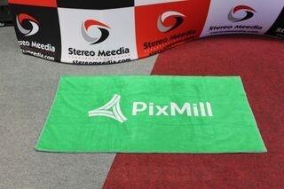 Kudottu logolla pyyheliina PixMill