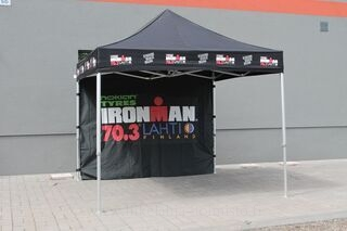 Ironman 70.3 Lahti logolla pop up teltta