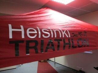 Termopainolla tehty logo Helsinki Triathlon