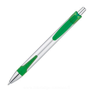 Ball pen made of plastic with silver shaft