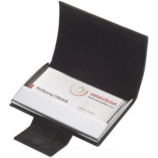 Business card holder with artificial leather covering