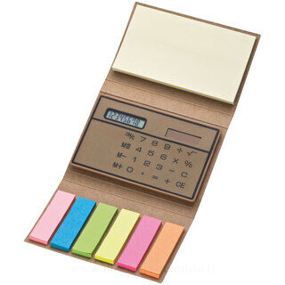 Case with sticky note and calculator