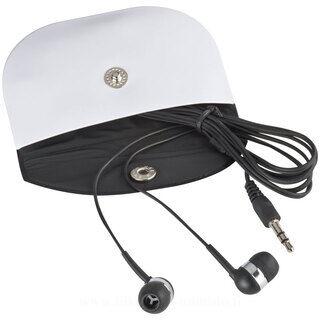 Black earphones in case