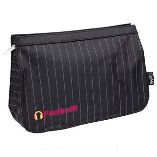 Black toilet bag with pinstriped pattern