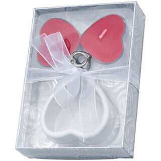 Candle set heart with ceramic stand